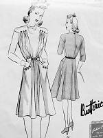 1940s CUTE Frock Dress Pattern BUTTERICK 9393 War Time Fashion Bust 32 Vintage Forties Sewing Pattern