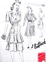 1940s WW II War Time Dress and Button On Apron and Heart Shape Pot Holder Pattern BUTTERICK 9403 Fab War Time Flattering Dress Bust 32 Vintage Forties Sewing Pattern FACTORY FOLDED