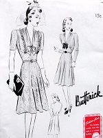 1940s LOVELY Dress Pattern BUTTERICK 9405 Draped V Neckline 2 Style Versions Bust  42 or 44 Vintage Forties Sewing Pattern FACTORY FOLDED