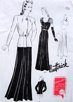 1940s GORGEOUS Evening Gown and Jacket Pattern BUTTERICK 9424 Big Band Era Sweetheart Neckline Scoop Back Dress Lovely Evening Jacket Bust 44 Vintage Forties Sewing Pattern