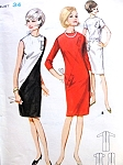1960s  Diagonally Seamed Dress Pattern Butterick 3923 Semi Fitted Shift In One or Two Colors Quick n Easy To Sew Bust 34 Vintage Sewing Pattern