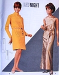 1960s Mod Shift Dress Pattern Cowl Neckline Sleeveless or Long Sleeves Evening or Day Dress Butterick 4617 Vintage Sewing Pattern  Bust 32 UNCUT