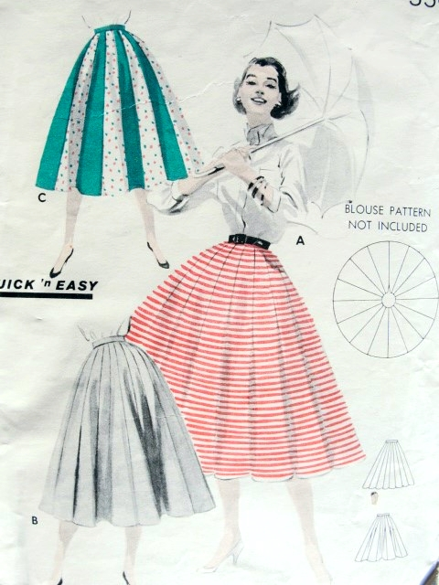 1950s Full Skirt Pattern Butterick 7701 Quick N Easy