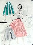 1950s Full Skirt Pattern Butterick 7701  Quick n Easy UMBRELLA Skirt 16 Flaring Gores Waist 26 Vintage Sewing Pattern