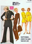 1960s Mod Mary Quant Jumpsuit Catsuit, Mini Skirt Pattern Butterick 5404 Mini Hotpants Jumpsuit or Full Length Bust 34 Vintage Sewing Pattern