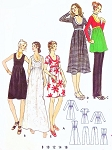 1970s Mod Babydoll Dress  and Pants Butterick 6152 Low Cut Empire Dress Mini, Regular, Midi and Maxi Lengths Straight Leg Pants Bust 34 Vintage Sewing Pattern FACTORY FOLDED