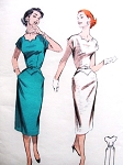 1950s Sheath Dress Pattern BUTTERICK 7378 Striking Notched Neckline Pointed Pockets Wiggle Dress Bust 30 Vintage Sewing Pattern