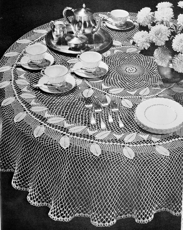 INSTANT DOWNLOAD PDF Lovely Heirloom Lace Crocheted ROUND Tablecloth  Vintage Crochet Pattern Garland Of Leaves Pattern