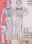 1930s Lovely Easy To Make Dress Pattern DUBARRY 1503B Pretty Shirred Neckline Long Raglan Sleeves or Short  Flutter Bust 32 Vintage Sewing Pattern