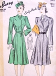 1940s Coat Pattern DuBarry 5001 Beautiful  Easy To Make Bell Sleeved Nip In Waist Flared Coat Bust 32 Vintage Sewing Pattern