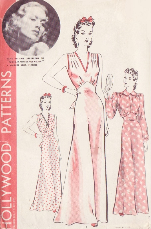 1940 Pin Up Style Nightgown Lingerie Pattern Hollywood