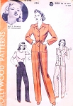 1940s FAB Pants Suit Pattern HOLLYWOOD 694 Featuring Betty Grable High Waist Pants Trousers and Jacket WW II Era Bust 32 Vintage Sewing Pattern