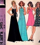 1970s Really Cute Halter Dress or Maxi Gown, Flirty Detachable Collar McCalls 3415 Vintage Sewing Pattern UNCUT
