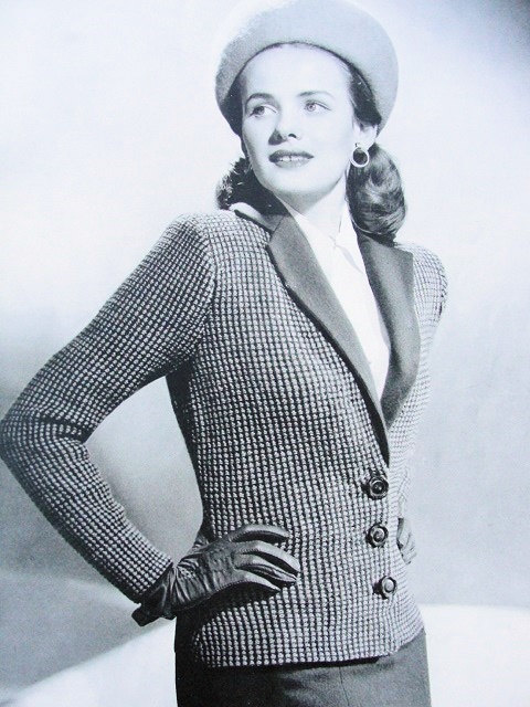 Knitting Pattern For Fitted Jacket : INSTANT PDF PATTERN Film Noir 1940s Vintage Knit Pattern Knitted Tailored Fit...