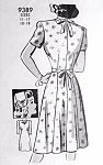 1940s Pretty Dress, Hat and Embroidery Pattern MARIAN MARTIN 9389 War Time WW II Dress Bust 34 Vintage Sewing pattern