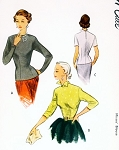 1950s Classy Fitted Overblouse or Tuck In Blouse Pattern McCALL 8236 Figure Fitting Blouse Two Neckline Styles Size 10 Vintage Sewing Pattern