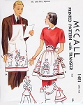 1940s Mr and Mrs APRONS Pattern McCALL 1481 Chef Barbecue Mens Apron and Ladies Hostess Half Apron One Size Vintage Sewing Pattern FACTORY FOLDED