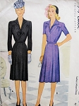 1940s LOVELY Tailored Dress Pattern McCALL 5742 Two Styles WW II Era Day or After 5 Bust 38 Vintage Sewing Pattern