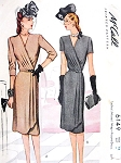 1940s FILM NOIR Style Wrap Around Dress Pattern McCALL 6149 Elegant Day or Evening Dress Bust 34 Vintage Sewing Pattern