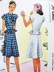 1940s FLIRTY  Peplum 2 Pc Dress Pattern McCALL 6477 Cute Day or Dinner Party Dress Bust 29 Vintage Sewing Pattern