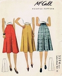 1940 Skirt Pattern McCall 3594 War Era Skirt With Inverted Pleat Waist 32 Vintage Sewing Pattern