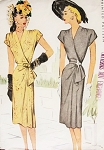 1940s Stunning Side Wrap Dress Pattern Draped Shoulders, Surplice and Side Cascade Drape Perfect Cocktail Party Evening Film Noir Dress McCall 6815 Vintage Forties Sewing Pattern Bust 38