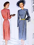 1940s STUNNING Coat Dress Pattern McCALL 7078 Asymmetrical Front Closing Surplice Neckline High Fashion Details Bust 34 Vintage Sewing Pattern