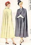 RESERVED Late 1940s Elegant Shawl Collar Cape Coat Pattern McCall 7179  Stunning Design Day or Evening  Medium Size Vintage Sewing Pattern