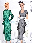 1940s AMAZING Cocktail Evening Dinner Dress Pattern McCALL 7529 Unique Eye Catching Film Noir Design Bust 32 Vintage Sewing Pattern