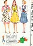 1940s Flattering War Time WW II Apron Pattern McCall 958  Three Lovely Styles Includes Fruit Applique Transfers Vintage Sewing Pattern