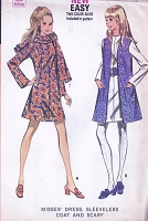 1970s RETRO Dress Scarf and Coat Pattern McCALLS 2101 Easy To Sew Bust 31.5 Vintage Sewing Pattern UNCUT