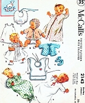 ADORABLE 1950s  Infants Baby 10 Pc Layette Wardrobe Pattern McCALLS 2143 Sweet Outfits Baby Clothes Including Cap Bonnet, Booties, Day and Night Clothing UNCUT +  Embroidery Transfer Vintage Sewing Pattern