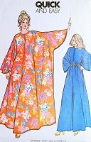 1970s Batwing Hostess Caftan Gown Lounging Jumpsuit Pattern McCALLS 3479 Quick n Easy Palazzo Pantdress Zip Front  One Size Fits All Vintage Sewing Pattern