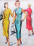 1950s Figure Show Off Dress Pattern McCalls 3681 Sophia Loren Style Slim Front Dress Lovely V Neckline Bust 32 Easy To Sew Vintage Sewing Pattern FACTORY FOLDED