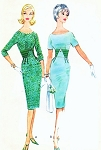 1960s Slim Midriff Sheath Day or Cocktail Dress Pattern McCALLS 5447 Scoop Neckline Wiggle Dress Bust 31 Vintage Sewing Pattern