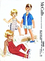 1960s Childrens Sports WearPattern McCalls 5840 Little Boys or Girls Coveralls Overalls or Sunsuit and Shirt Toddler Size 3 Childs Vintage Sewing Pattern