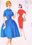 60s  Rockabilly Vixen Sheath or Full Gathered Skirt Dress Pattern McCalls 6001 Front Button Shirtdress Bust 32 Vintage Sewing Pattern
