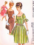 1960s Pretty Dress Pattern McCALLS 6275 Slim or Full Skirt Scoop Neckline Daytime or Party Bust 33 Vintage Sewing Pattern