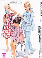 1960s CUTE Pajamas PJs Pants, Shorts and Robe or NightGown Pattern McCALLS 6697  Includes Mongram Transfer  Size 10 Childrens Vintage Sewing Pattern UNCUT