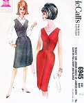 1960s Cocktail Party Dress or Day Jumper Pattern McCALLS 6945 Slim Evening Dress or Flared Jumper Dress and Blouse Bust 33 Vintage Sewing Pattern FACTORY FOLDED
