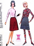 1960s Fab STOCKINGS Skirt and Blouse Top Pattern McCalls 7945 Bust 32 Vintage Sewing Pattern