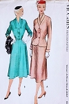 1950s Dress and Jacket Pattern McCalls 8721 Lovely Draped shoulders Dress Beautiful Shawl Collar Fitted Nip In Waist Jacket Bust 34 Vintage Sewing Pattern FACTORY FOLDED