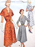 1950s Lovely Dress Pattern McCalls 8914 Keyhole Notched Neckline Front Button Perfect Day or Party Dress Bust 36 Vintage Sewing Pattern