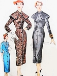 1950s Stunning Sheath Dress  McCALLS 9884  With or Without Cape Collar Bust 34 Vintage Sewing Pattern