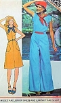 McCalls Sewing Pattern 5094 Dress-JUMPSUIT-Scarf 1970s Nautical Sailor Style Wide Leg Bell Bottom Almost Palazzo Pant  Bust 32 UNCUT
