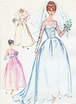 1960 Beautiful Wedding Gown or Bridesmaids Dress Pattern Two Lengths, With Train Option, Unique Scallop Hemline Version Mad Men Era McCalls 5674 Vintage Sewing Pattern Several Sizes UNCUT