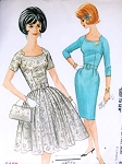 Early 1960s Mad Men Style Dress Pattern McCalls 6518 Slim Wiggle or Full Skirt Dress Interesting Notched Neckline Easy To Sew Vintage Sewing Pattern Bust 32 UNCUT