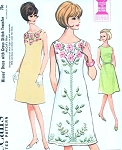 1960s Lovely A Line Dress and Cross Stitch Roses Embroidery Pattern McCalls 7766 Perfect Summer Dress Bust 32 Easy To Sew Vintage Sewing Pattern UNCUT