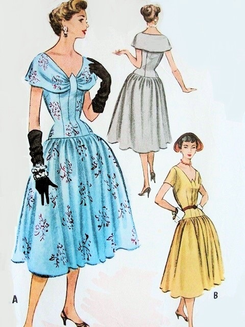 1950s Beautiful Cocktail Party Dress Pattern Fitted Longer