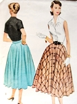 1950s Rockabilly Full Skirt Pattern McCalls 9481 Front Button Circle Skirt Easy To Sew  Waist 30 Vintage Sewing Pattern